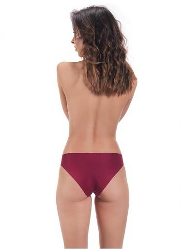 Cottonhill Klasik Basic Lazer Kesim Kadın Bikini Külot Kırmızı